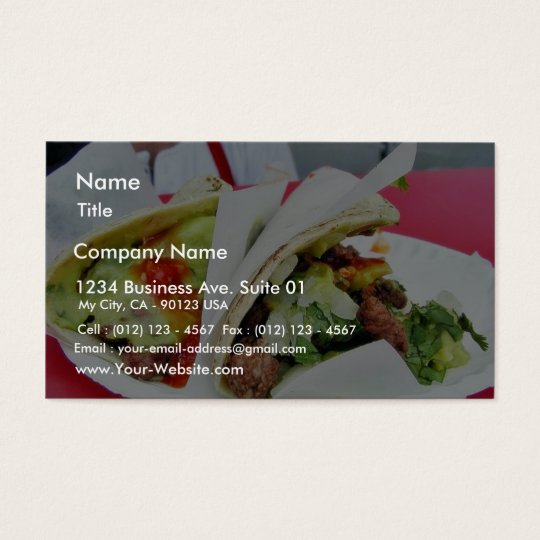 Carne Asada Tacos Guacamole Business Card