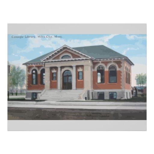 Carnegic Library , Miles City , Mont., Vintage Flyer