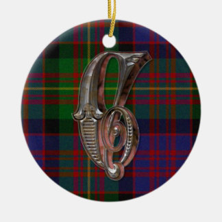 Carnegie Plaid Monogram ornament