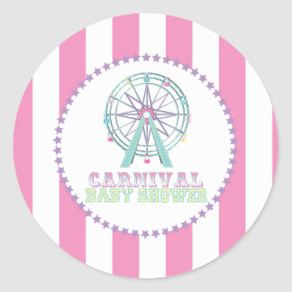 Carnival Baby Shower Stickers with Ferris Wheel