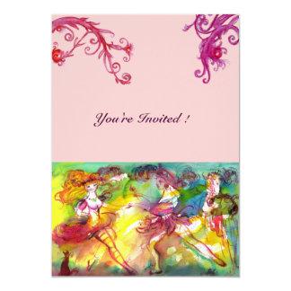 "CARNIVAL BALLET / Venetian Masquerade, Dance Music 5"" X 7"" Invitation Card"