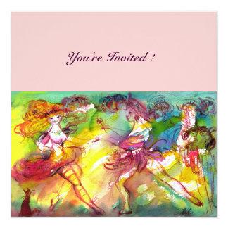 """CARNIVAL BALLET / Venetian Masquerade, Dance Music 5.25"""" Square Invitation Card"""