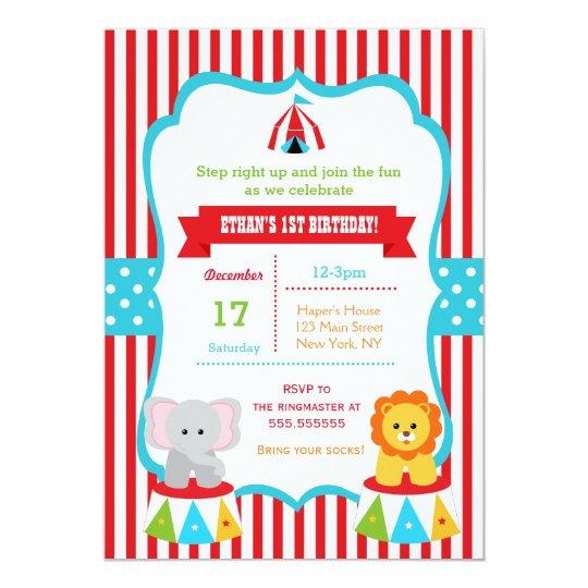 Carnival Birthday Party Invitations Circus