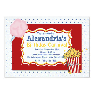 Carnival Birthday Primary Colors 13 Cm X 18 Cm Invitation Card