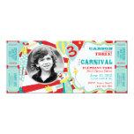 "Carnival Circus Clowns Birthday Invitation 4"" X 9.25"" Invitation Card"
