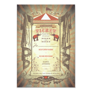 Carnival Circus Elephants Wedding RSVP cards