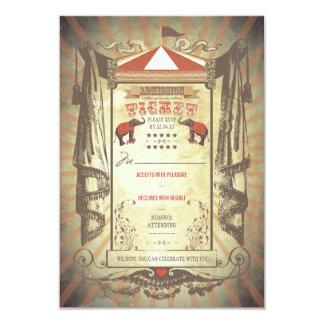 "Carnival Circus Elephants Wedding RSVP cards 3.5"" X 5"" Invitation Card"