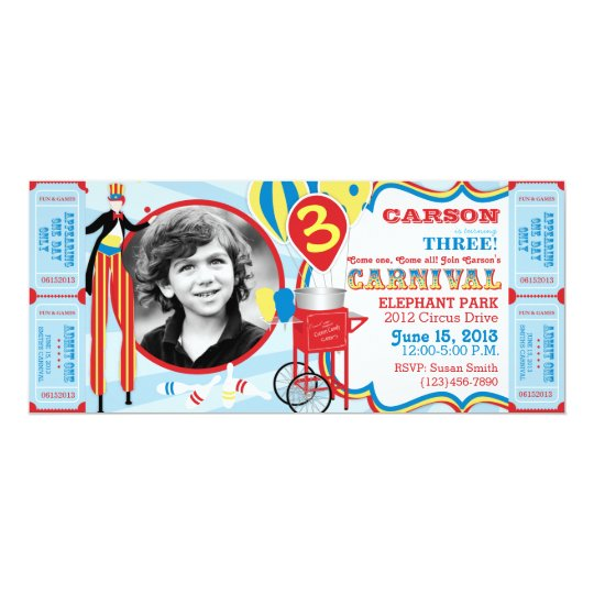 Carnival Circus Stilt Walker Birthday Card