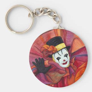 Carnival Clown Basic Round Button Key Ring