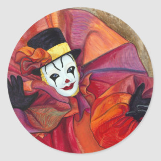 Carnival Clown Round Sticker