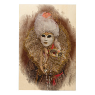 Carnival Costume Portrait, Venice Wood Wall Art