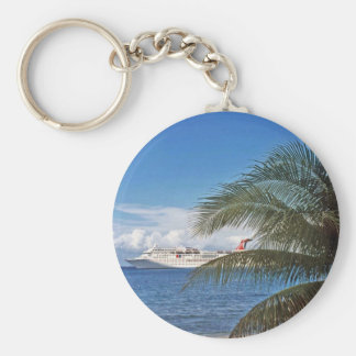 Carnival cruise ship docked at Grand Cayman Island Basic Round Button Key Ring