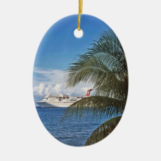 Carnival cruise ship docked at Grand Cayman Island Ceramic Oval Decoration