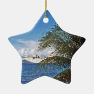 Carnival cruise ship docked at Grand Cayman Island Ceramic Star Decoration