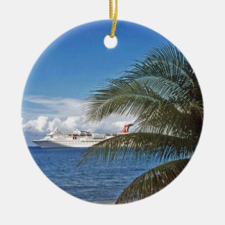 Carnival cruise ship docked at Grand Cayman Island Round Ceramic Decoration