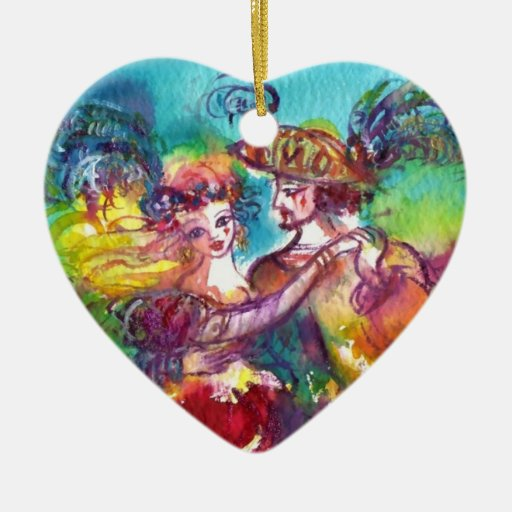 CARNIVAL DANCE  RED RUBY HEART CHRISTMAS ORNAMENT