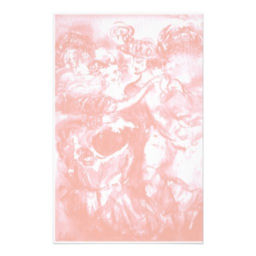 CARNIVAL DANCE ,soft antique pink white Custom Stationery
