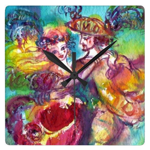 CARNIVAL DANCE Venetian Masquerade Ball Square Wallclocks