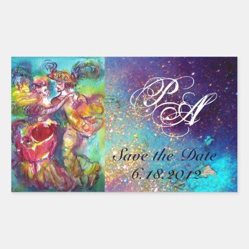 CARNIVAL DANCE / Venetian Masquerade Ball Monogram Sticker