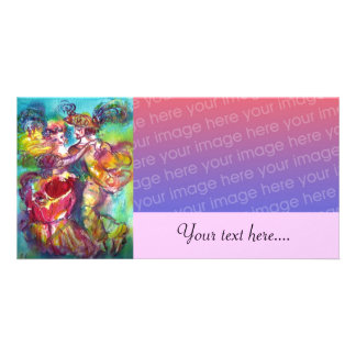 CARNIVAL DANCE Venetian Masquerade Ball,pink Customised Photo Card