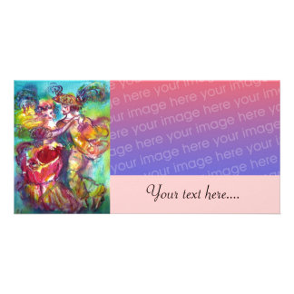 CARNIVAL DANCE Venetian Masquerade Ball pink Picture Card