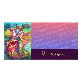 CARNIVAL DANCE Venetian Masquerade Ball, purple Custom Photo Card