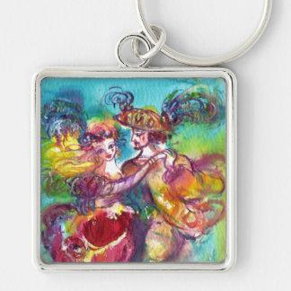 CARNIVAL DANCE Venetian Masquerade Ball Silver-Colored Square Key Ring