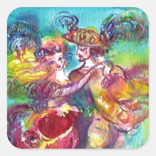 CARNIVAL DANCE Venetian Masquerade Ball Square Sticker