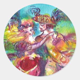 CARNIVAL DANCE Venetian Masquerade Ball Round Stickers