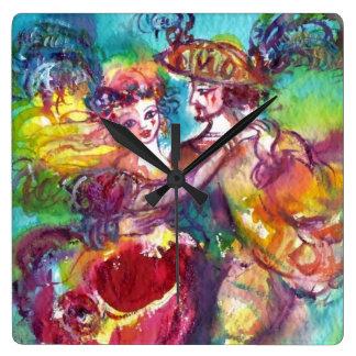 CARNIVAL DANCE Venetian Masquerade Ball Wallclocks