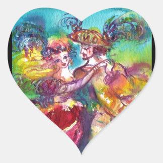 CARNIVAL DANCE Venetian Masquerade Valentine Heart Heart Stickers