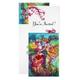 CARNIVAL DANCE vibrant blue red flourish silver 10 Cm X 24 Cm Invitation Card
