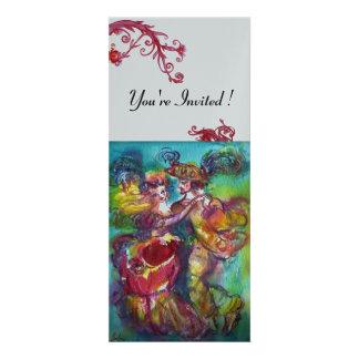 CARNIVAL DANCE vibrant blue red flourish silver Invites