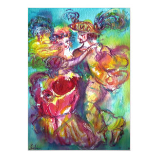 CARNIVAL DANCE , vibrant blue yellow pink rose 13 Cm X 18 Cm Invitation Card