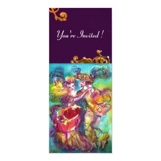 CARNIVAL DANCE , vibrant pink blue yellow flourish 10 Cm X 24 Cm Invitation Card