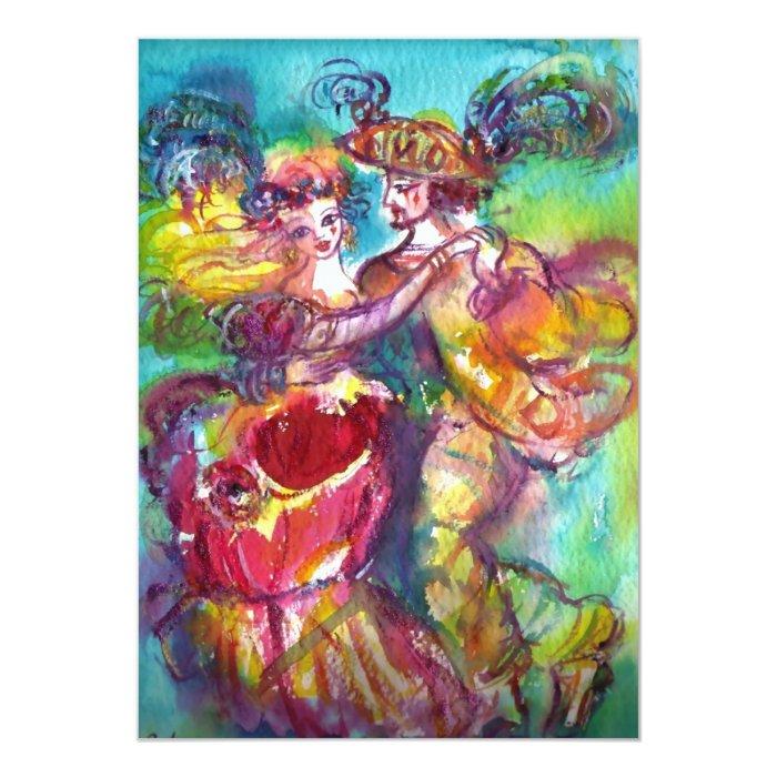 CARNIVAL DANCE , vibrant pink blue yellow sparkles 13 Cm X 18 Cm Invitation Card