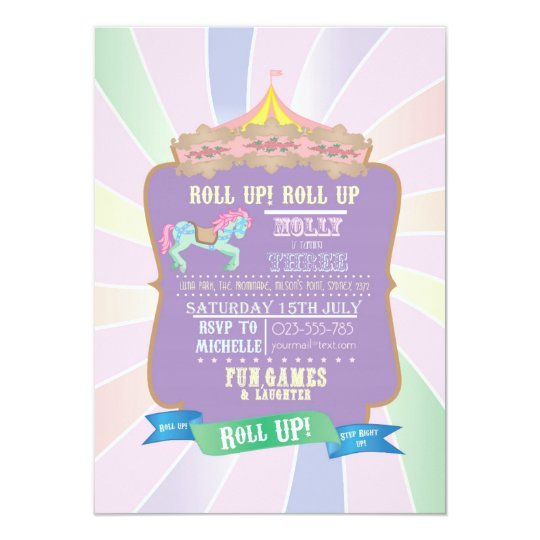 Carnival - Funfair -Pastel - Birthday - Invitation