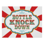 Carnival Game Sign Bottle Knock Down Posters