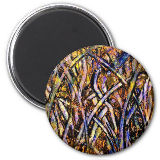 Carnival Glass Grass With Orange Mold Fungus 6 Cm Round Magnet