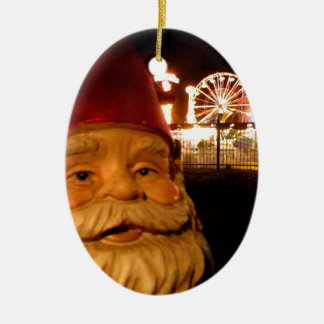 Carnival Gnome Double-Sided Oval Ceramic Christmas Ornament
