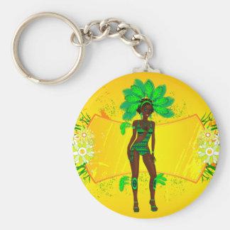 carnival green girl.ai basic round button key ring
