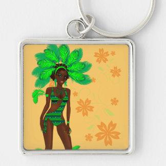 carnival green girl.ai Silver-Colored square key ring