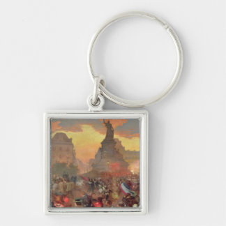 Carnival in Paris in Honour of the Russian Silver-Colored Square Key Ring