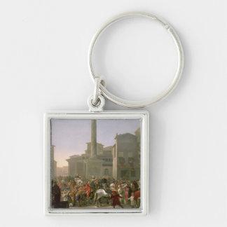 Carnival in Rome, c.1650-51 Silver-Colored Square Key Ring