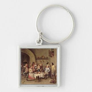 Carnival: 'Le Roi Boit', 1690 (oil on copper) Keychain