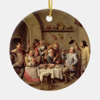 Carnival: 'Le Roi Boit', 1690 (oil on copper) Round Ceramic Decoration