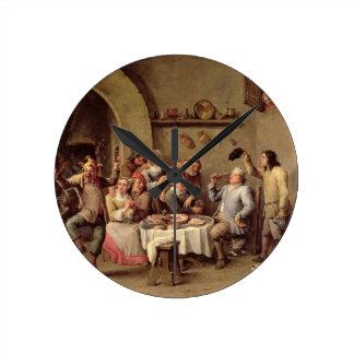 Carnival: 'Le Roi Boit', 1690 (oil on copper) Round Clock