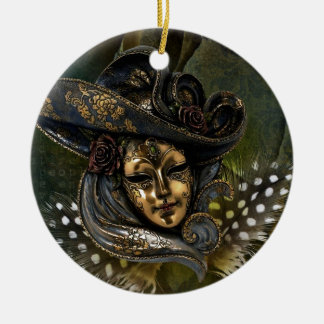 Carnival Mask-Green Damask Ornament
