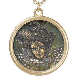 Carnival Mask-Green N Gold Damask Necklace
