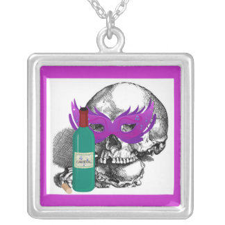 CARNIVAL MASK SKULL AND WINE SQUARE PENDANT NECKLACE